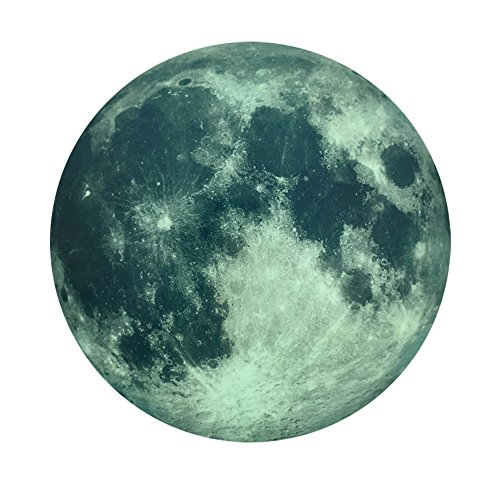 - Creative 30cm Glow in the Dark Moon Night Luminous Stickers Removable Adhesive Wall Decal for Kids Bedroom Living room Children's Room Ceiling Nursery Room (Green)