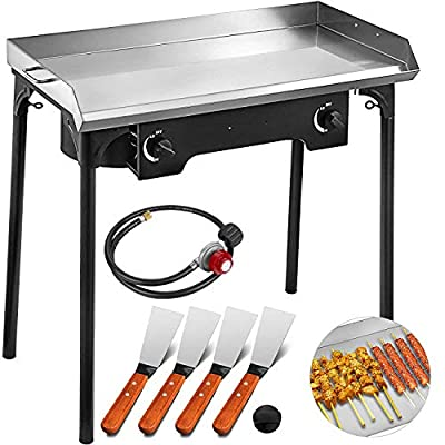 Happybuy Universal Flat Top Griddle Stainless Steel Flat Top Griddle Plancha Comal BBQ Griddle with Handles for Restaurant or Home Use