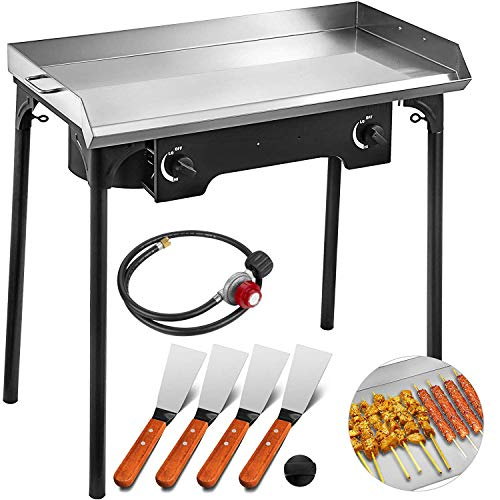 Happybuy Double Burner Stove Griddle Flat Top 32x17 inches 2 Burner Propane Gas Grill Griddle Stainless Steel with 4 Griddle Spatula and Scraper