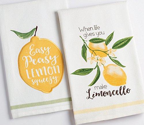 DII Set of 2 Lemon Themed Dishtowels with Petite Stripe