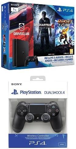 PlayStation 4 Slim (PS4) 1TB - Consola + Uncharted 4 + DriveClub + Ratchet & Clank [Pack Exclusivo] + DualShock 4 Negro V2 adicional: Amazon.es: Videojuegos