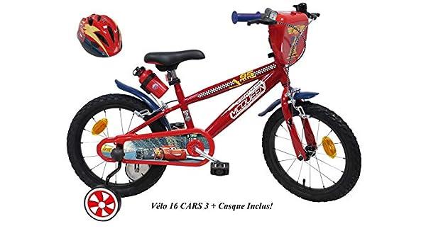 Bicicleta de 16 Pulgadas Disney Cars con 2 Frenos Caliper + estabilizadores + Casco Cars incluidos.: Amazon.es: Deportes y aire libre