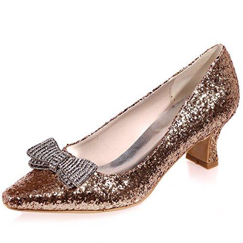 Classico da 5 Sposa Gold DéColleté da Abito 5 Sparkly cm Punta Prom Scarpe Elobaby Donna Sposa da Chiusa di da Tacco w1q01BS6