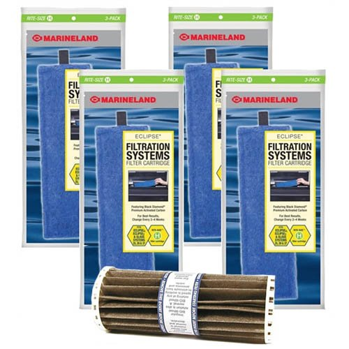 Eclipse Marineland 3 Rite Size H Replacement Filter Cartridge 12-Pack & Bio-Wheel Assembly Bundle ()
