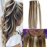 LaaVoo 14' Thick Ponytail Clip in Human Hair Extension Highlighted Color Light Brown #8 to Platinum Blonde #60 Straight Real Human Hair Extensions 70 Grams