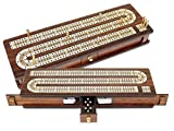 House of Cribbage - Continuous Cribbage Board / Box Inlaid in Rosewood / Maple 12'' - 3 Tracks - Sliding Lid Drawer
