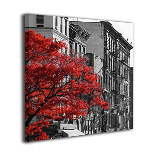 (Red Fall Tree In Black And White NYC Street Scene Contemporary Picture Canvas Wall Art Print Paintings Artwork For Living Room Wall Decor And Home Decor Framed Ready To Hang)