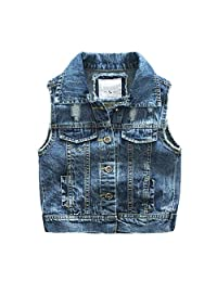 Motteecity Fashion Boys Casual Ripped Denim Stylish Sleeveless Jacket Vest
