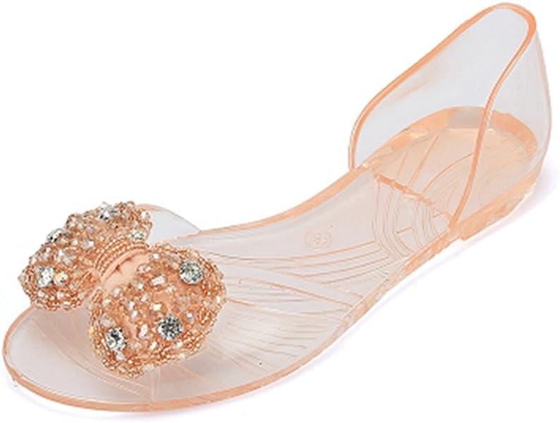 cec4396cc Women s Girls Clear Bow Jelly Sandals Shoes Fashion Summer Beach  Transparent Flat Water Sandals Beige