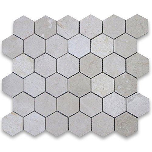Crema Marfil Spanish Marble Hexagon Mosaic Tile 2 inch Polished