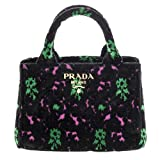 Prada Women's Green and Fuschia Flowers Velvet Handbag Black