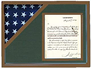 product image for Shadow Box for 3' x 5' Flag with 8.5 x 11 Document Holder, Walnut Finish