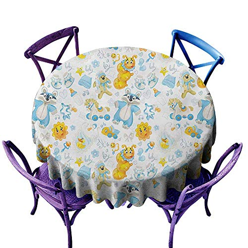 (Zodel Waterproof Table Cover,Nursery Its a Boy Image with Happy Sun Raccoon in Pyjamas Blue Hats and Pacifier,Modern Minimalist,55 INCH,Earth Yellow Aqua)