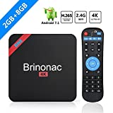 Brinnonac BN8 4K HD Smart Android 7.1 TV Box with Amlogic S905W Quad-core 2GB RAM 8GB ROM 2.4G Wifi 3D H.265 4K HD Player (2GB+8GB)