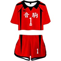 Flyself Haikyuu!!Boy Girl's Crop Top and Shorts Set Haikyuu Cosplay Costume Karasuno High School Volleyball 3D Printed…