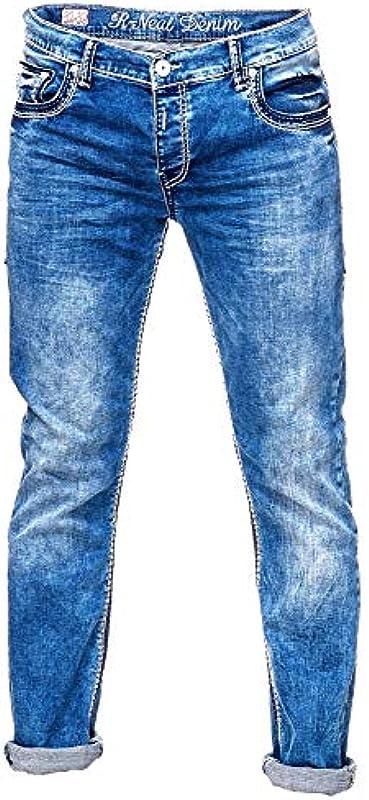 Rusty Neal Spodnie jeansowe Regular Fit białe niebieskie szwy ozdobne Stretch Blue Jeans Streetwear Denim -4: Odzież