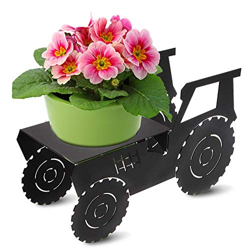 Decorative Metal Plant Stand & Flower Pot Holder | Modern Outdoor & Indoor Plant Holder | Great Gift for Plant Lovers | Tractor Design ... (Tractor)