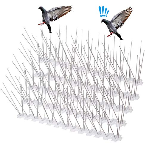 LEPO Stainless Steel Bird Spikes for Pigeons and Other Small Birds Metal Roof Guard Pigeon Prevention, Animal -10.76 Ft