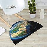 Earth Half Round Door mats Vivid Earth Globe with Blue Seas Greenery Volumetric Clouds Science Theme Bathroom Mat H 39.3'' xD 59'' Blue Green Sand Brown