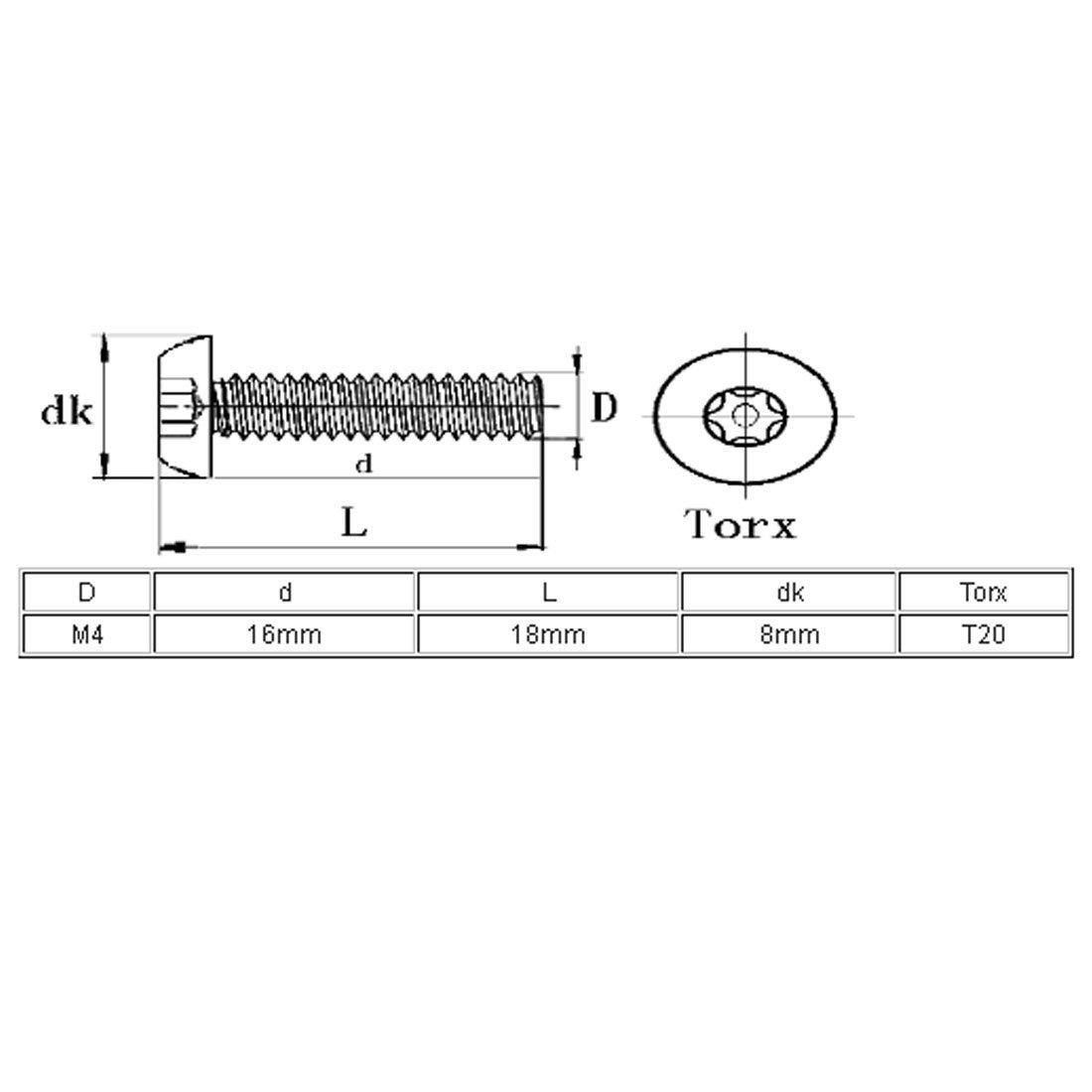 sourcingmap/® M4x16mm 304 T/ête bouton en acier inoxydable Torx Tamper R/ésistant Vis 10pcs
