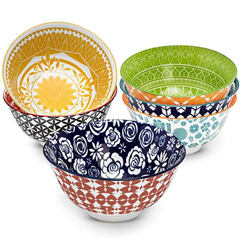Annovero Cereal Bowls - Set of 6 Porcelain Bowls for Soup, Salad, Rice, or Pasta, 6.25 Inch Diameter, 23 Fluid Ounce (2.75 Cup) Capacity