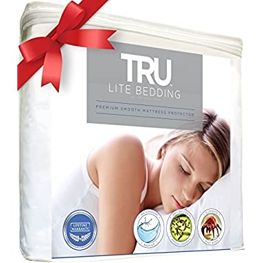 Queen Size - Mattress / Bed Cover - Premium Smooth Mattress Protector, 100% Waterproof, Hypoallergenic, Breathable Cover Protection from Dust Mites, Allergens, Bacteria, Urine - TRU Lite Bedding