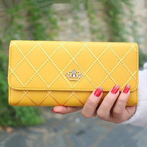 CC * CD cartera de mujer de piel sintética bolso de mano Tarjeta de crédito embrague titular caso, piel sintética, Rosa, morado Amarillo