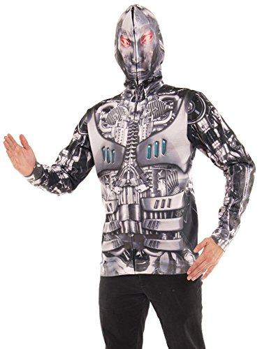 Hitler Costume (Faux Real Men's Robot Mask Hoodie, Silver, Large)