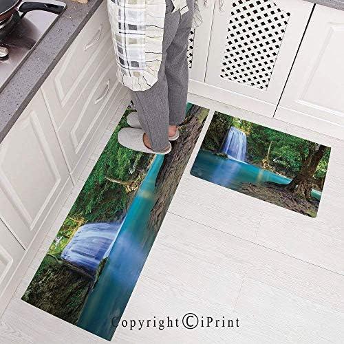 AngelSept 2 Pieces Microfiber Non-Slip Soft Kitchen Mat Bath RugWaterfall Asia Thailand Jungle Tropic Plants Trees Waterscape Tourist Attraction Doormat Runner Carpet Set 15.7x23.6+15.7x47.2 / AngelSept 2 Pieces Microfiber Non-Slip...