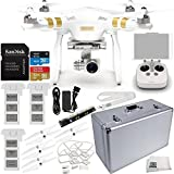 DJI Phantom 3 Professional Quadcopter w/ 4K Camera, 3-Axis Gimbal & Manufacturer Accessories + 2 Extra DJI Batteries + SSE Aluminum Hard-Shell Case + Quick-Release Snap On/Off Prop Guards + MORE