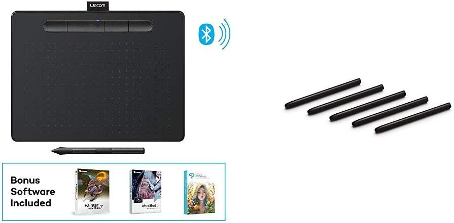 """Wacom Intuos Wireless Graphics Drawing Tablet with 3 Bonus Software Included, 10.4"""" X 7.8"""", Black (CTL6100WLK0) Bundle with Wacom ACK20001 Standard Nibs"""