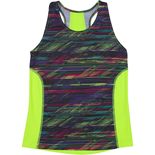 New Balance Big Girls' Athletic Tank Tops, Lime Glo/Rainbow, 10/12