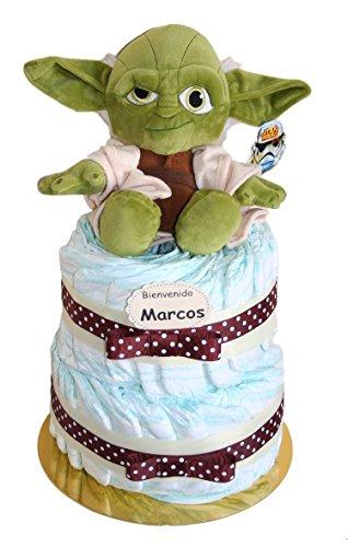 Tarta de pañales Stars Wars Yoda, regalo práctico y original para bebe - tarta pañales