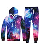Unisex 3D Blue Galaxy Print 2PCS Sweatshirt Sweatpants Pullover with Big Pockets