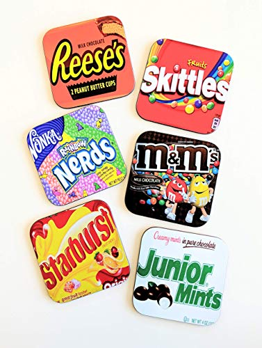 Candy Lover Gift Coasters Set Reeses Peanut Butter Cups Nerds M&Ms Skittles Junior Mints ()