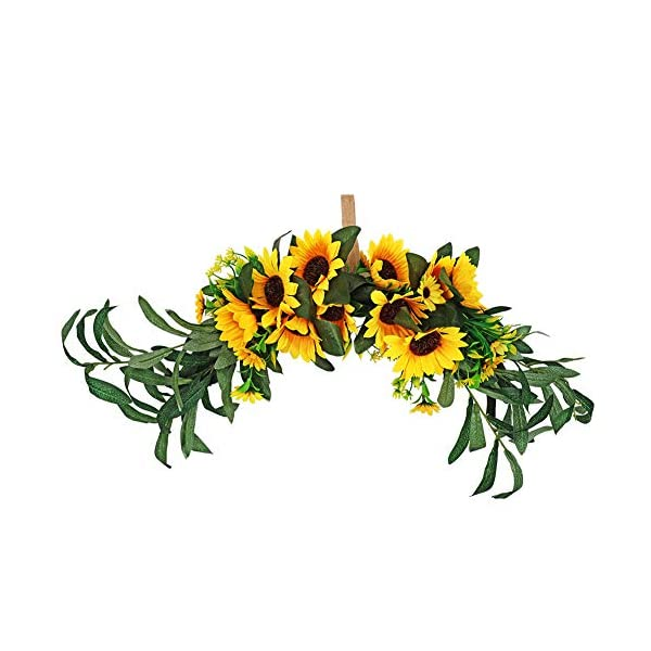 JUDYME Artificial Sunflower Swag Floral Swag Fake Flower Wreath with Yellow Sunflower and Green Leaves for Wedding Home Wall Indoor Outdoor Decor