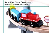 Wooden Train Set - 70 pc - Classic Toy Train Tracks & Accessories, Magnetic Train Cars for Toddlers & Older Kids - Compatible w/ Thomas Tank Engine, Melissa & Doug, Brio, Chugginton Train Sets