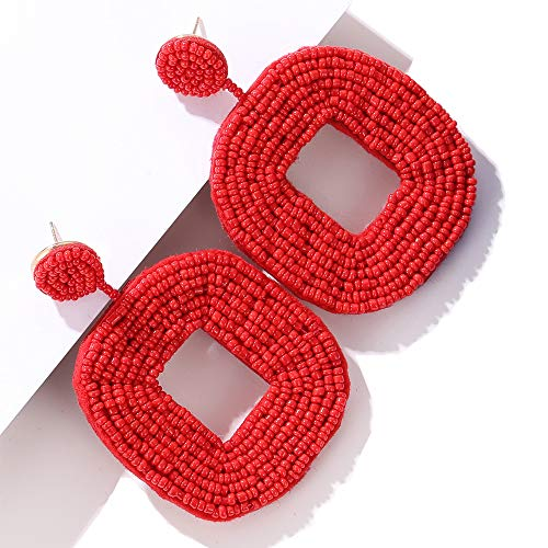 Olisaglan Red Statement Earrings for Women - Bohemian Wire Wrapped Beaded Square Hoop Dangle Statement Earrings