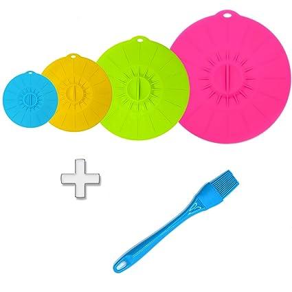 jss con ventosa de silicona tapas y contenedores de alimentos Covers – Compatible con diversos tamaños y colores de tazas, tazones, sartenes, o