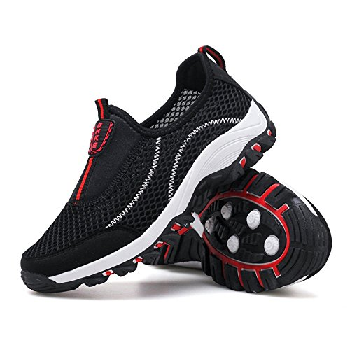 on 69 Walking Textile Shoes Slip Fahion BLACK Sneakers Mesh Athletic Men's YRwSP