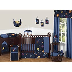Space Galaxy Rocket Ship, Planet, Galactic 11 Piece Baby Boy Bedding Crib Set without bumper