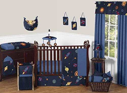 Space Galaxy Rocket Ship, Planet, Galactic 11 Piece Baby Boy or Girl Bedding Crib Set without bumper (Outer Space Hamper compare prices)