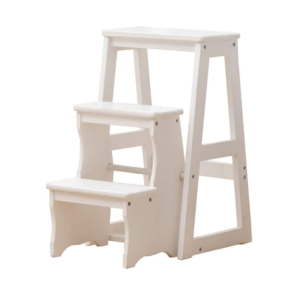 純木の家の折る階段椅子の多機能の二重使用3ステップ梯子のスツール屋内上昇の梯子の梯子 (色 : B)  B B07S3KD4XJ
