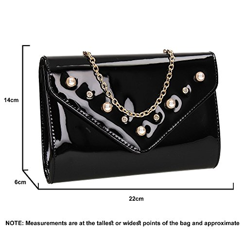 Bag Callie Party Ladies Patent Stud Envelope Black Out Diamante Wedding Prom Celebrity Clutch Night Evening SWANKYSWANS 6dwg1qxU1