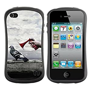 Hybrid Anti-Shock Bumper Case for Apple iPhone 4 4S / Pigeon