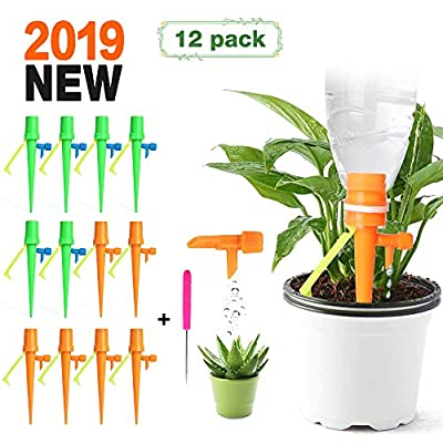 FinalBase Plant Watering Devices, 12 PCS Self Watering Spikes, Automatic Plant Waterer, Irrigation Drippers with Slow Release Control Valve Switch for Flower beds, Vegetable Gardens, Lawn