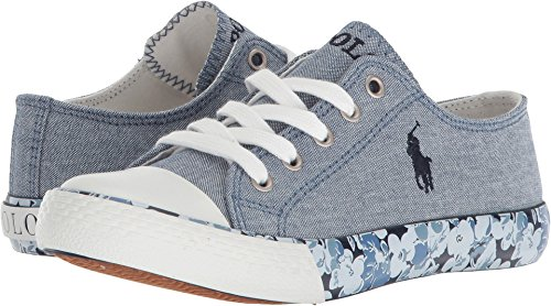 (Polo Ralph Lauren Kids Girl's Slone (Little Kid) Blue Chambray/Navy Pony Player/Printed Floral Foxing 3 M US Little Kid)