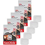 5x genuine sandisk ultra 16gb class 10 sdhc flash memory card up to 80mb/s memory card (sdsdunc-016g-gn6in) w/ memory card case (5pcs) 4