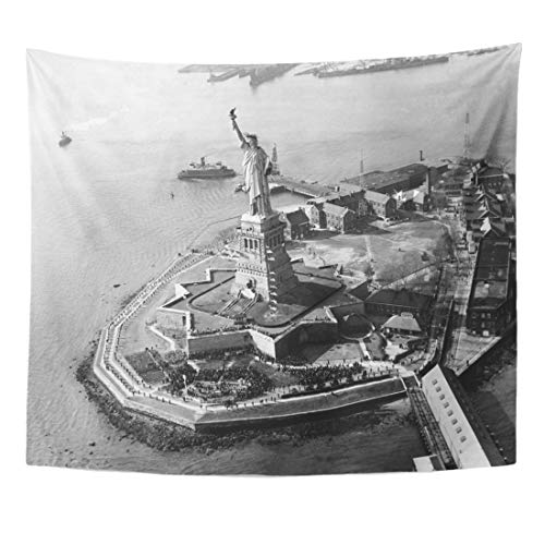 (Semtomn Tapestry 1930S The Statue of Liberty Bedloe Island New York Home Decor Wall Hanging for Living Room Bedroom Dorm 50x60)
