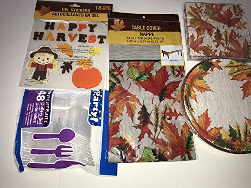Holiday Party Supply Kit - Paper Plates, Napkin, Cutlery set, Gel stickers, Table Cloth